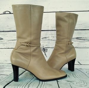 Easy Spirit Buttery Leather Calf Boots Square Toe